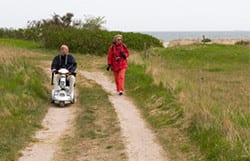 By using an off-road mobility scooter they can hike trails